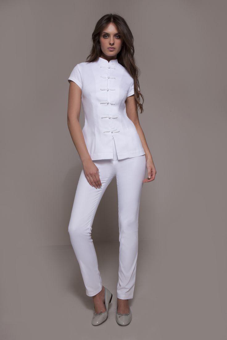 StyleMonarchy Spa Uniform - Shanghai Spa Tunic & Cordoba Pants in white, Asian-inspired Spa uniform, acupuncture uniform, massage uniform, wellness uniform