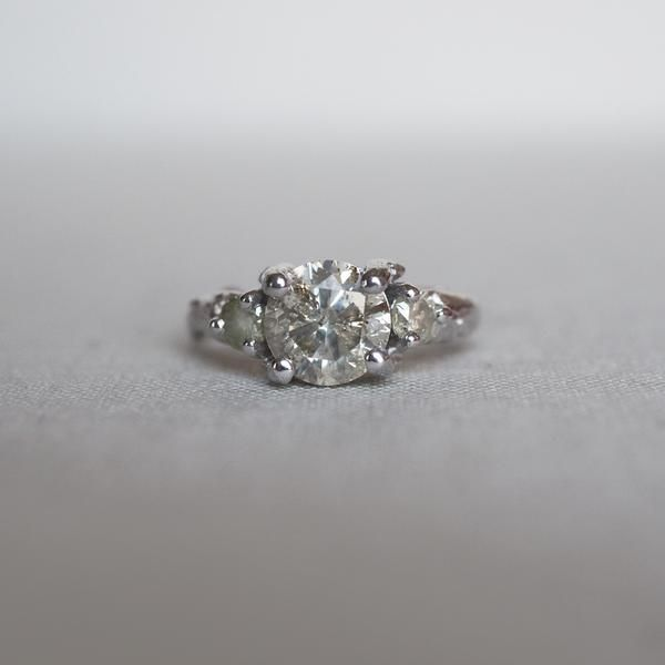 Solid White Gold You Me & Magic One Carat Grey Diamond Ring