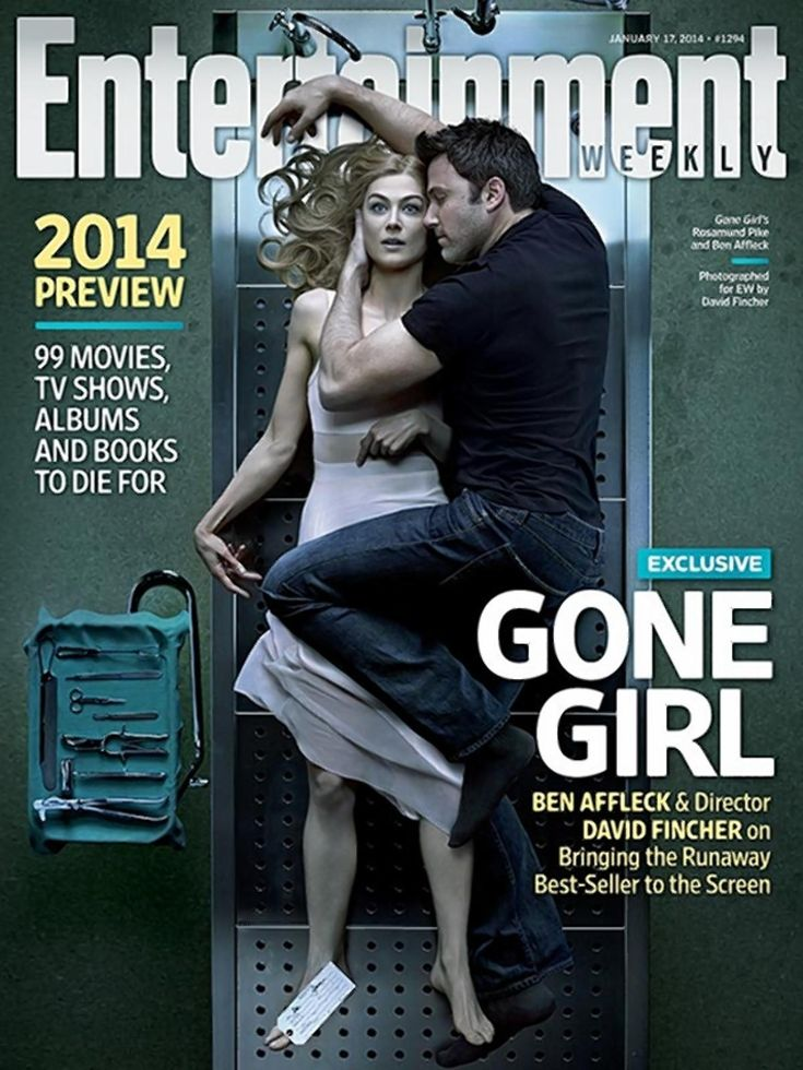 Rosamund Pike and Ben Affleck in Entertainment Weekly's cover for 'Gone Girl.' The photo was take by director David Fincher.