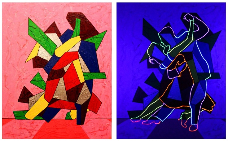 Painting by German H. Salamanca  The image on the left side is a photograph of the painting during the daylight. The image on the right is a photograph of the painting at night while being exposed to ultra-violet light.