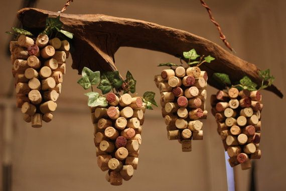 Driftwood and Wine Cork Art.  Grape Vine Handmade by CorkProjects, $200.00