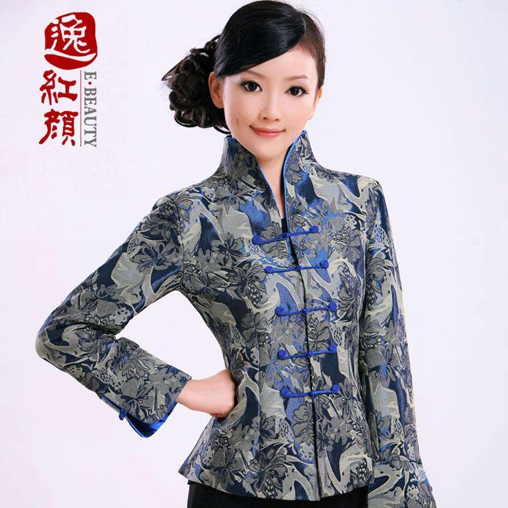 Superior Blue Brocade Open Neck Jacket - Chinese Jackets & Coats - Women