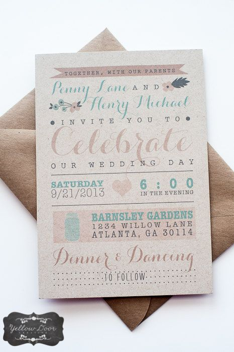 Wedding Invitation / / Rustic Modern Kraft by YellowDoorCreative, $2.50