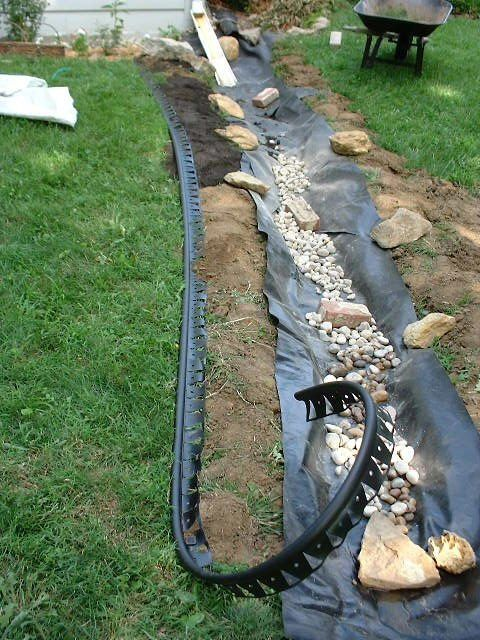 Dry creek bed as downspout extension | step by step instructions