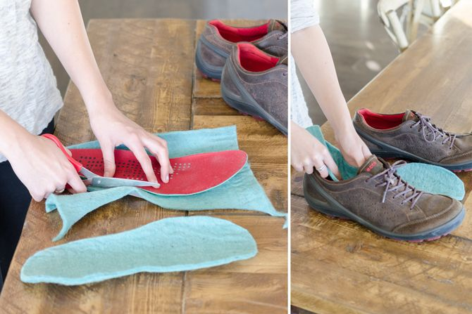 Wool felt or fabric (an old sweater works too) can help keep feet warm. Just use one of the insoles from a favorite winter shoe to make the pattern on wool felt or fabric. You can find wool fabric at craft stores like Jo-Ann Fabrics or even online at Amazon.