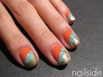 hmmmm.. now how would I do this?  source: http://nailside.blogspot.com/2011/11/vintage-clouds.html: Clouds Nails, Colors Combos, Nails Art, Cute Nails, Cloud Nails, Pretty Colors, Vintage Clouds, Summer Colors, Art Deco Nails