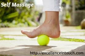 Self Massage: Place one foot on the ball. Slowly roll your foot backwards & forwards, putting as much pressure on the ball as is comfortable. Work the ball from side-to-side, making sure to get every area of your foot, from toes to heel. Then, plant your heel on the ball & work it around in slow, small circles. Finally, cross one leg over the other, take the ball in your hand & gently roll it up & down your arch. Repeat with other foot.  http://excellenceintouch.com
