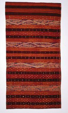 Tapis Cucuk Andak Balak Kauer people ? Lampung - Sumatra Cotton - Silk - Mica Embroidery - Warp ikat - Applique of tiny mirrors (cermuk)