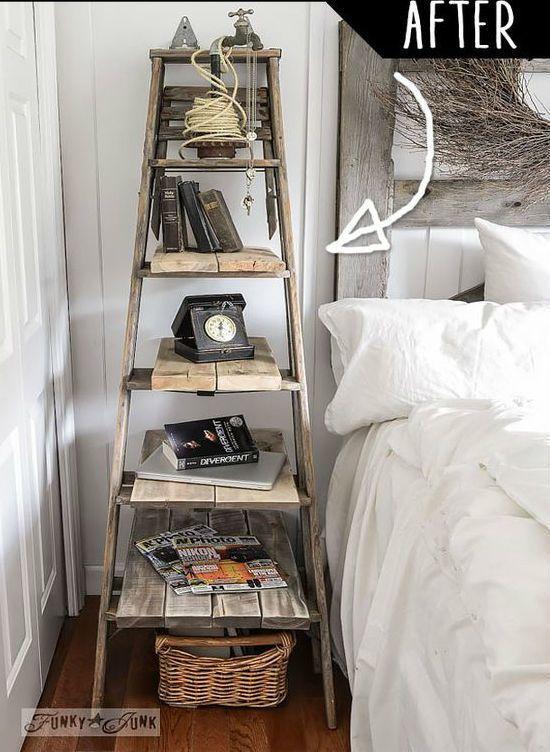 As escadas são boas opções de estantes para decorações rústicas e escandinavas ;)  #decoração #design #madeiramadeira