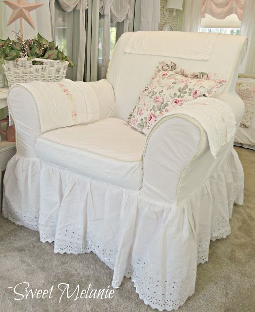 ~Sweet Melanie~: Welcome to my Madness  Use an old bed ruffle for the ruffle at the bottom of a slipcover.