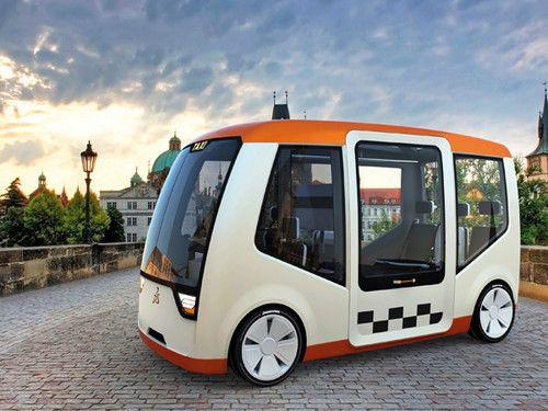 futuristic taxi, praguq, future vehicle, concept car, bus, Diego Garcia, Taxi Visitor, Taxi-e, Louis Joseph Böhm