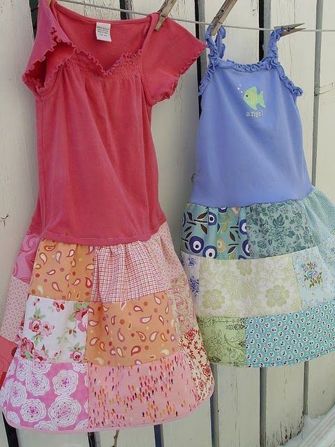 A great way to recycle too short shirts-add a patchwork skirt!! Easy sewing project!