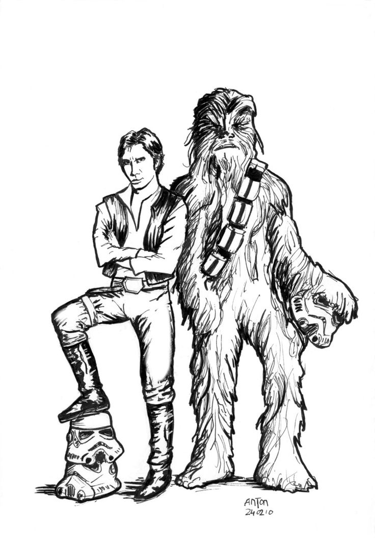 star wars coloring page han and chewie embroidery