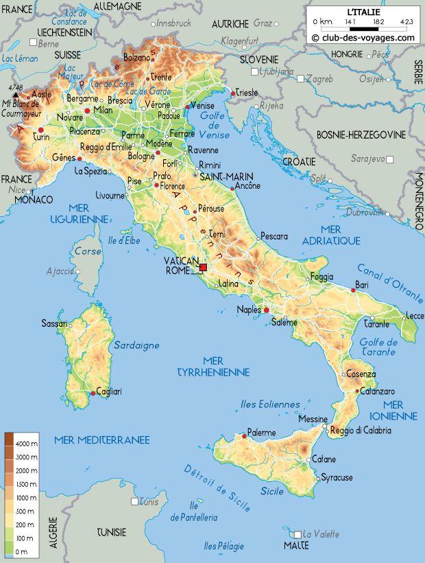 Carte détaillée de l Italie