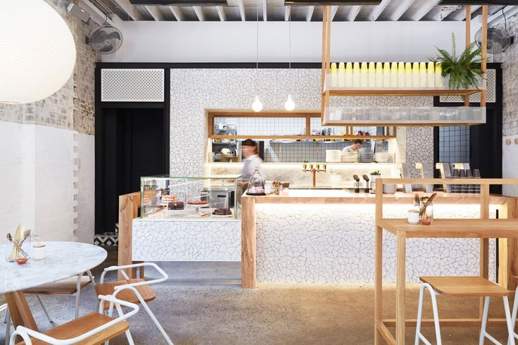 The Rabbit Hole: Organic Tea Bar by Matt Woods Design.  Note the crushed ceramic tile bar front and wall.  Amazing detail.