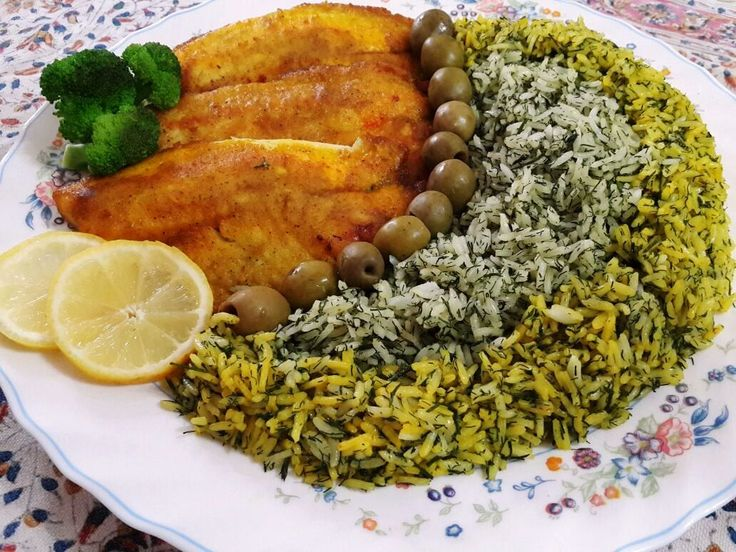 Sabzi Polow Mahi (Herb Rice with Fish) is traditionally served for the Persian new year Norooz