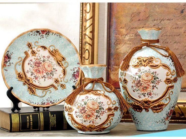 Royal Collection - 3 Piece Ceramic Vase Set - Light Blue – Samiksha's