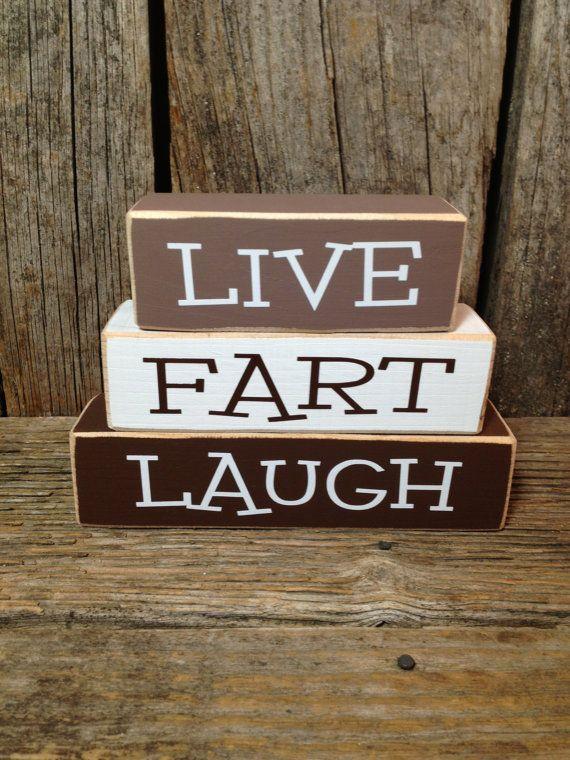 Live FART Laugh mini block set Funny Family wood blocks home gift decor