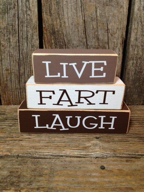 Live FART Laugh mini block set Funny Family wood blocks home gift décor, LOL