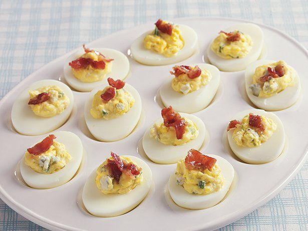 Blue Cheese Bacon Deviled Eggs.  My dad would love these.