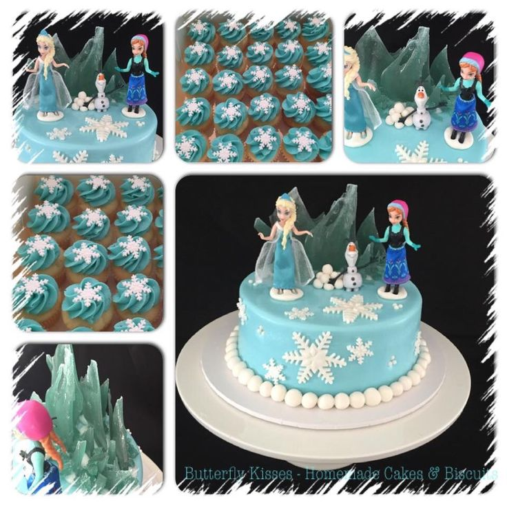 Frozen themed cake and mini cupcakes