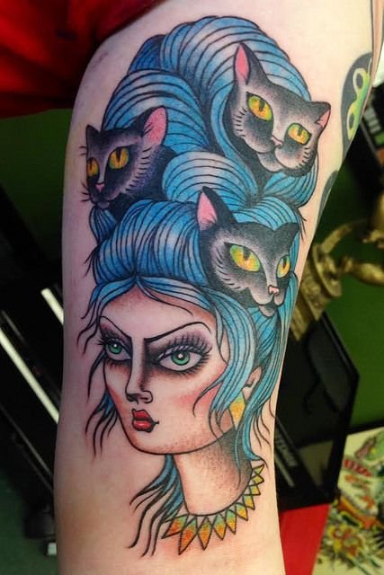 Crazy Cat Lady Tattoo - Traditional tattoos - Blue Beehive Hairstyle - Ball of Yarn Hair - Cats in Hair