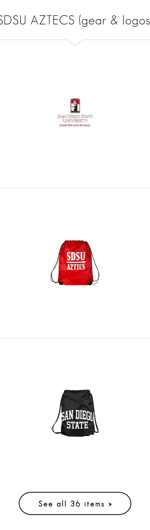 """SDSU AZTECS (gear & logos)"" by guitarbazaar ❤ liked on Polyvore featuring bags, handbags, aztec print bag, red drawstring bag, red purse, aztec print purse, aztec purse, drawstring bag, activewear and activewear shorts"