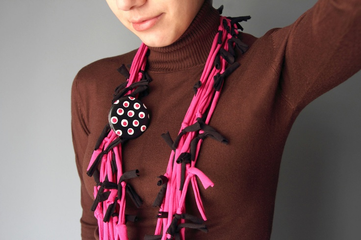 T-Shirt SCARF NECKLACE in hot pink and black with extra polka dot brooch. $18.00, via Etsy.