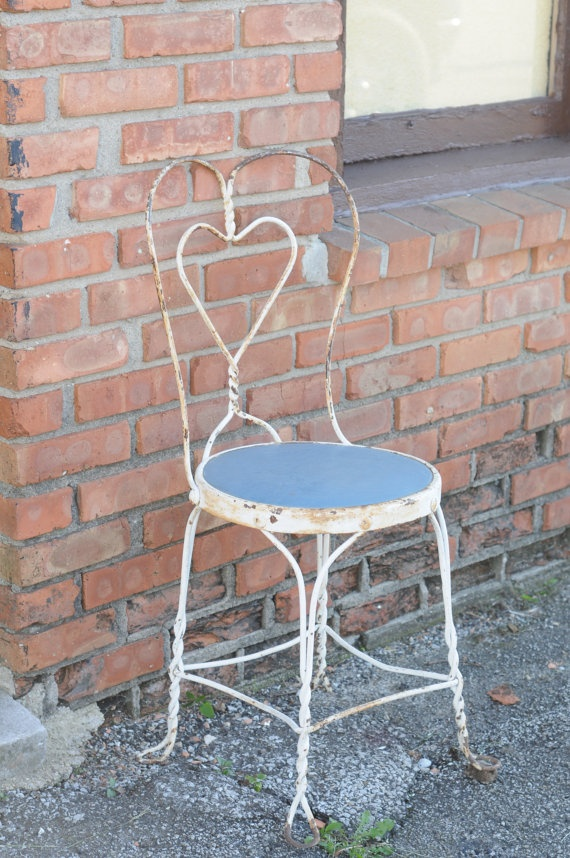 Vintage Wrought Iron ice Cream Parlor Chair 38 by PageScrappers, $65.00 - 48 Best Ice Cream Parlor Chairs Images On Pinterest Ice Cream