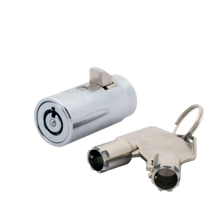 FJM Security MEI-2501B-KA High Security Vending Machine Lock with Tubular Keyway and Chrome Finish, Keyed Alike