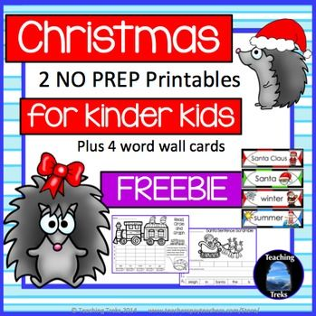 FREE Christmas Fun! Christmas for Kinder Kids FREEBIE has 2 fun Language and Math Christmas themed NO PREP printables and 4 illustrated Christmas Word Wall cards.  This Christmas freebie contains * Santa Sentence Scramble - 'Santa is in the sleigh.' * Read, Count and Graph - Toy Train  * 4 Christmas Word Cards  Christmas for Kinder Kids FREEBIE is a sample of Christmas for Kinder Kids pack, available here:   Christmas for Kinder Kids  You may also like:   Christmas Reading Fun  Christmas in…