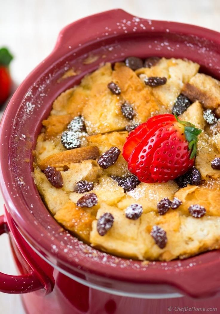 Slow Cooker Bread Pudding Friends, dust yourslow cookers, andbring home some crusty bread... because today I'm giving you an epic and foolproof bread pudding recipe thatis prepared all in slow cooker! Withfragrance of cinnamon and sweetness of raisins, thisbreakfastcan make any morning feel like holiday morning!!