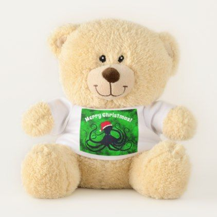 Christmas Octopus - Small Teddy Bear - baby gifts child new born gift idea diy cyo special unique design