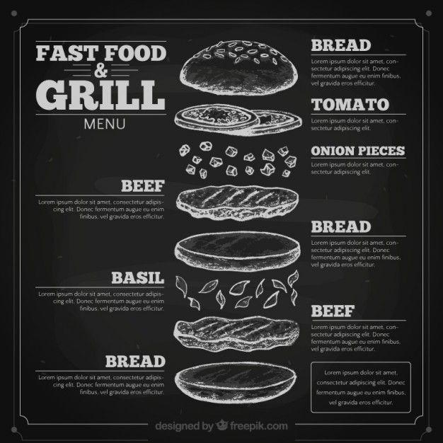 Hand drawn fast food menu in blackboard Free Vector