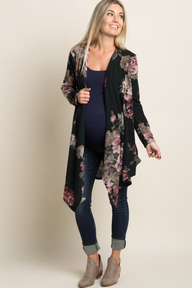 76e38b7f1d188 Green Floral Draped Front Knit Maternity Cardigan in 2019   1.Mom 2 Be    Fashion, Pink blush maternity, Maternity tops