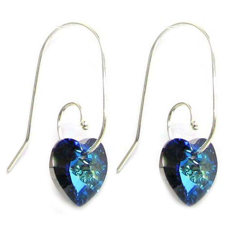 Bermuda Blue Swarovski Elements Crystal Love Heart Sterling Silver Swirl Hook Dangle Earrings: