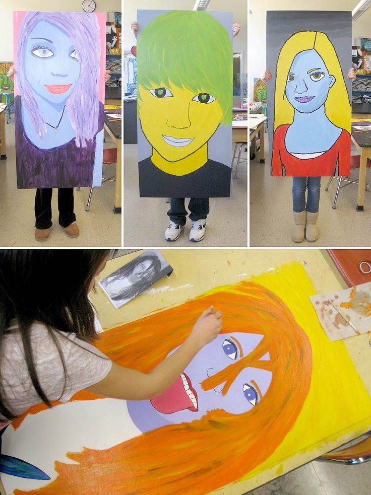 Larger than Life Self-Portraits 8th grade: Individual Style, Idea, Teen, Portrait Paintings, Grade Students, Portraits Paintings, Lessons Painting