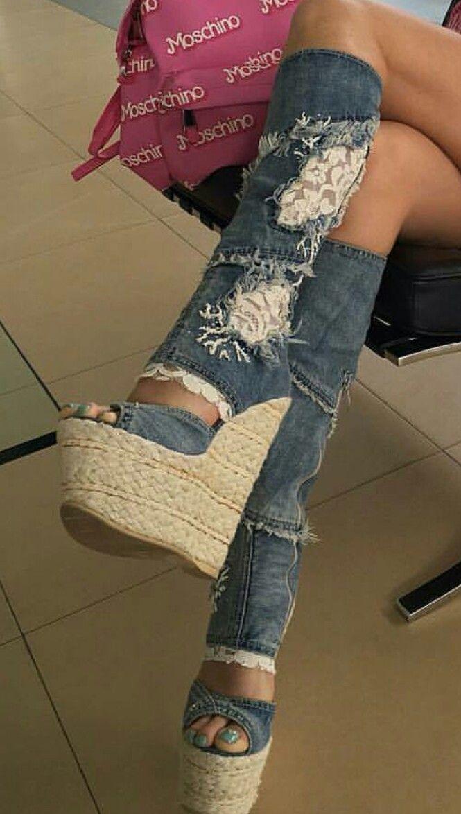 Jeans high heels