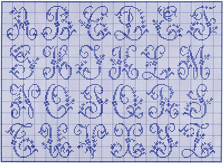 filet crochet alphabet patterns free | Alfabeto delle rose