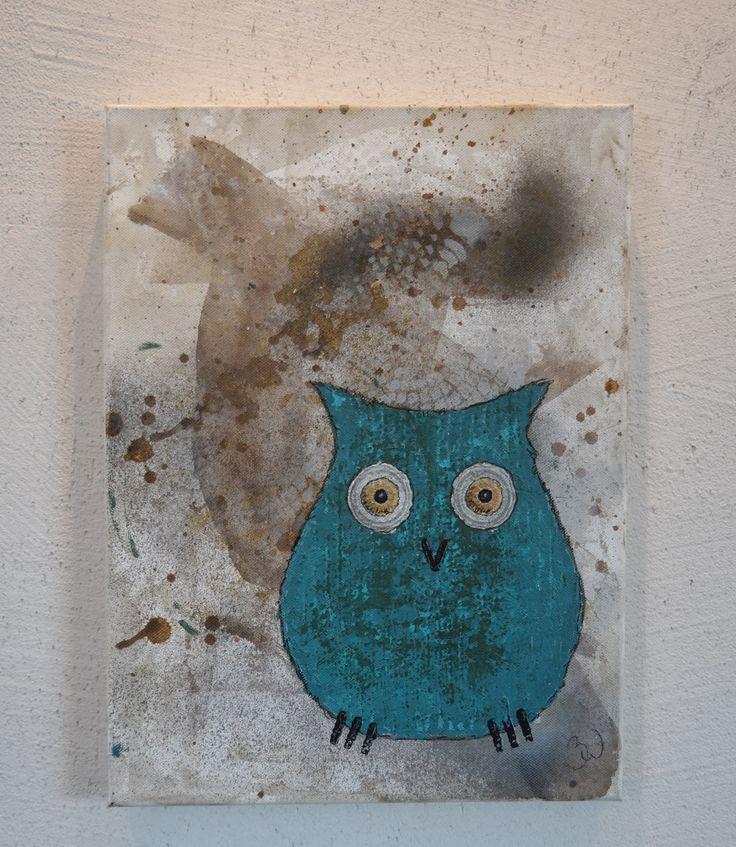 Owl Tavla 40x30x4 med en grön turkos uggla på för 695kr plus frakt