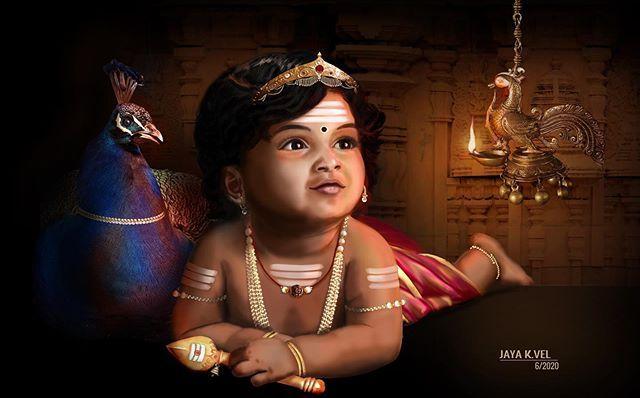 Jaya K Vel On Instagram New Creation Baby Kandhan With Peacock Unseenart Kuttykandhan Letthe Lord Ganesha Paintings Lord Murugan Wallpapers Lord Murugan