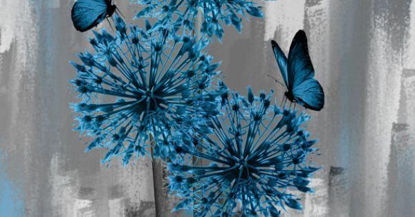 Blue Gray Butterfly On Flowers Wall Art Home by LittlePiePhotoArt | Абстрактные картины | Pinterest | Flower, Wall art and Blue
