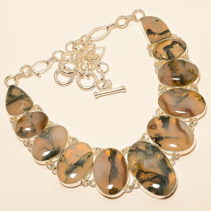 "Moss Agate 925 Sterling Silver Necklace 18"" #Handmade #Choker"