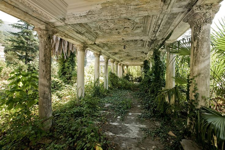 Image credits: Ilya Varlamov -- This train station in Sukhumi, Abkhazia was abandoned during the War in Abkhazia in 1992 and 1993. The dispute between Georgia and Russia over the region has isolated the region, but the decaying station retains some of its former glory in the form of intricate plaster work and mahogany furniture.