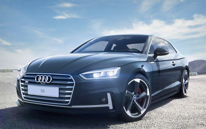 Herunterladen hintergrundbild audi s5 coupé, 2017 autos, straße, grau, s5, deutsche autos, audi