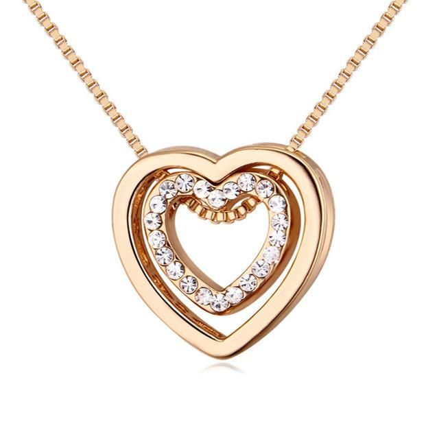 rose gold color zircon double heart necklace for women