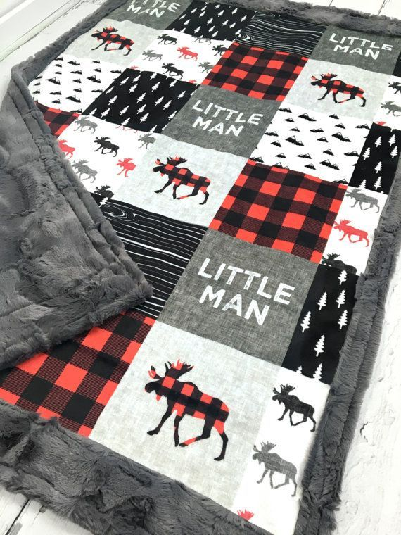 Little Man Minky Blanket  Faux Quilt  by TheDesignerMinkyCo