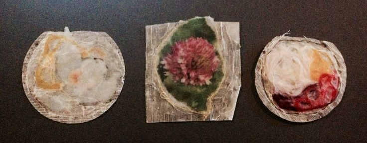 images and materials trapped inside tea bags and sealed with wax