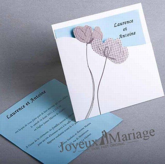 faire part de mariage joyeuxmariage lotus bleu tiffany