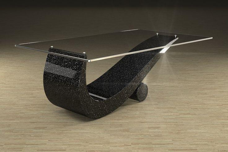 Articolo 43C-5     Tavolino da salotto FlexFinitura: nero con brillantini argento.Misure: cm 110 x 65  - Altezza: cm 42 - Peso: Kg. 52Vetro: rettangolare -  temperato - extra white - filo lucido - spessore 1 cm